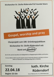 Gospel, Worship and Pray, Sonntag 22. April 2018, 16:00, Rüdersdorf