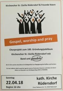 Gospel, Worship and Pray, Sonntag 22. April 2018, 16:00, Rüdersdorf